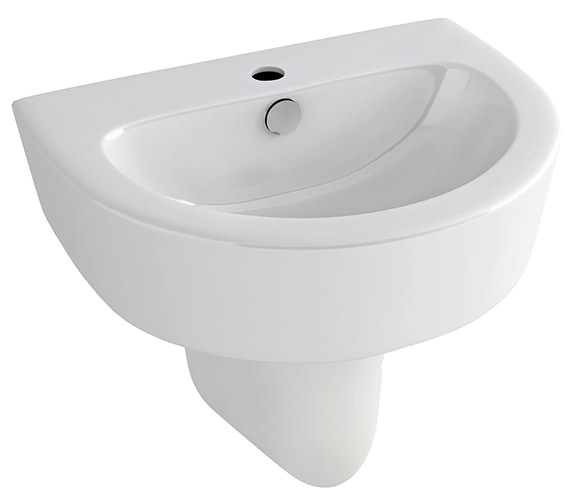Pura Arco 610mm 1 Tap Hole Basin With Half Pedestal