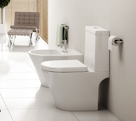Additional image of Pura Arco Open-Back Close Coupled WC Bowl With Cistern And Seat 660mm