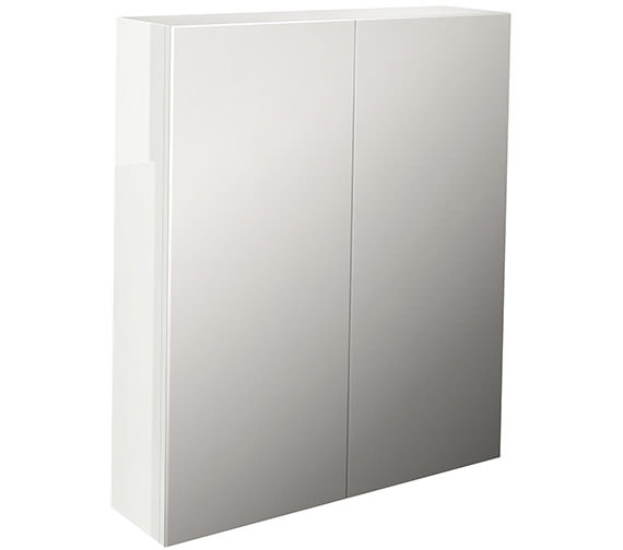 Pura Echo Double Door Mirror Cabinet 600mm White Gloss