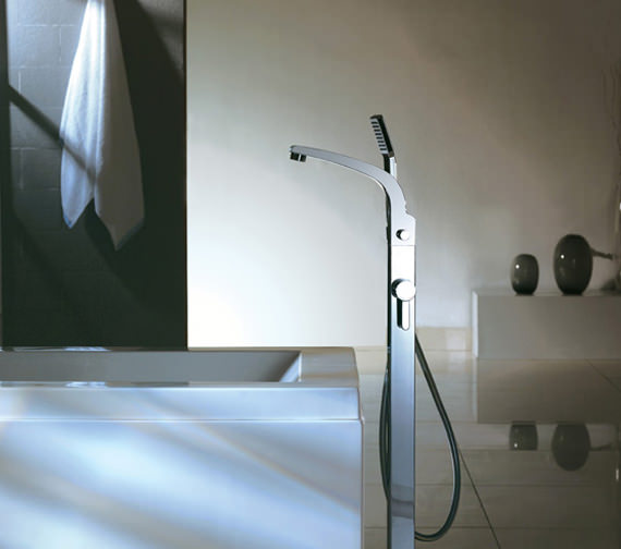 Flova Essence Floor Mounted Bath-Shower Mixer Tap With Handset And Hose