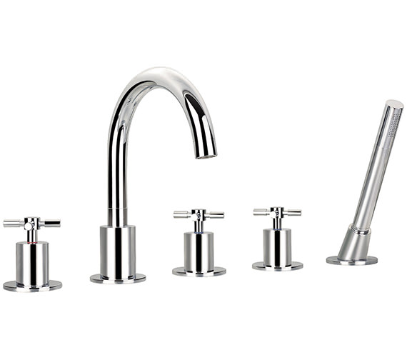 Flova XL 5 Hole Bath-Shower Mixer Tap With Handset And Hose