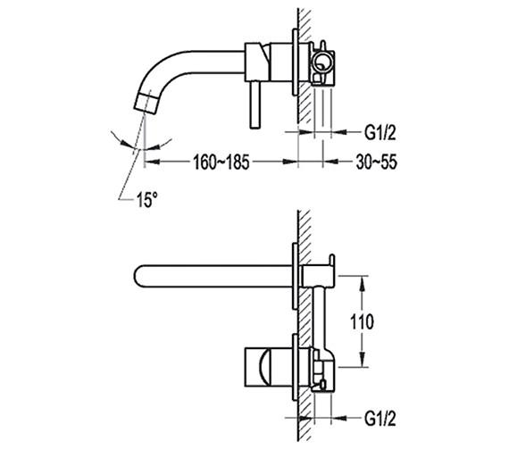 Technical drawing QS-V15373 / LV2HWMBAS