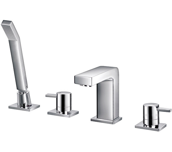 Flova Str8 4 Hole Bath-Shower Mixer Tap With Handset And Hose