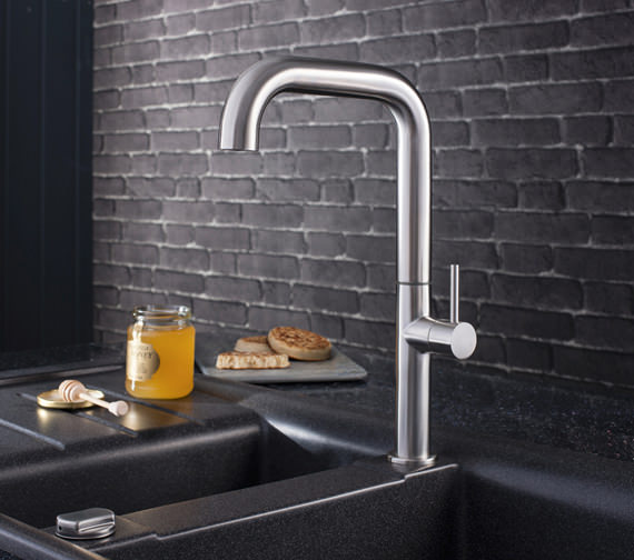 Crosswater Cucina Tube Stainless Steel Side Lever Kitchen Sink Mixer Tap 306mm