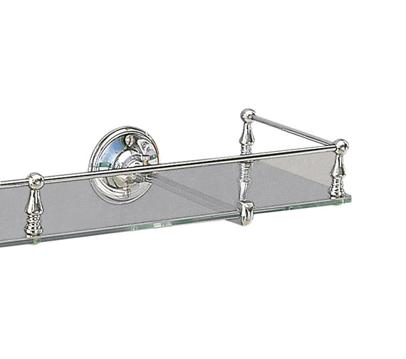 Miller Stockholm Glass Shelf With Guard Rail 500mm - 602C