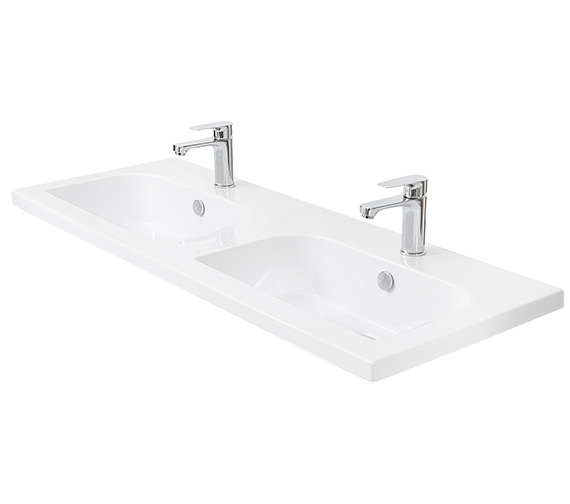 Miller 1210mm D-Shaped Double Bowl Ceramic Basin - 123W1
