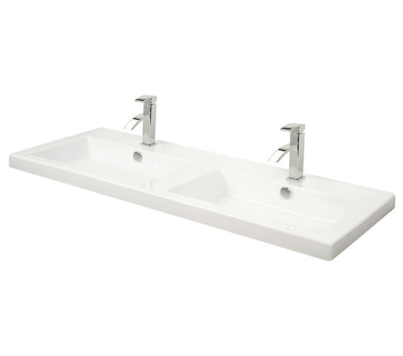 Miller 1210mm Rectangular Double Bowl Ceramic Basin - 115W1