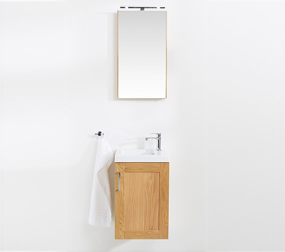 Alternate image of Miller London 40 Oak Single Door Mirror Cabinet 404 x 700mm