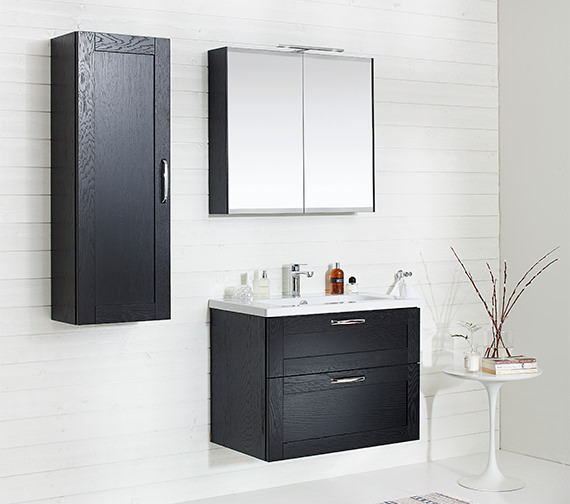 Alternate image of Miller London 80 Black Double Door Mirror Cabinet 790 x 700mm