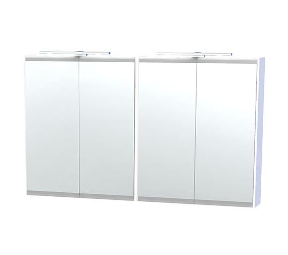 Miller London 120 White Four Door Mirror Cabinet 1180 x 700mm