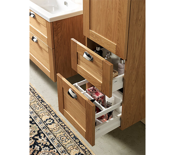 Alternate image of Miller London Oak 1 Door And 2 Drawer Tall Cabinet 400 x 1690mm