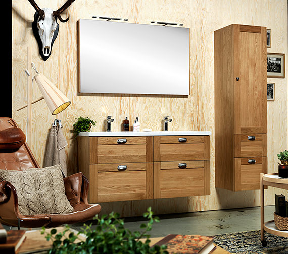 Additional image of Miller London 120 Natural Oak Four Drawer Wall Hung Vanity Body