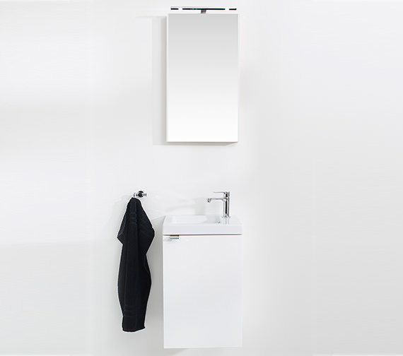 Additional image of Miller New York 40 White Wall Hung Basin Vanity Unit With Door