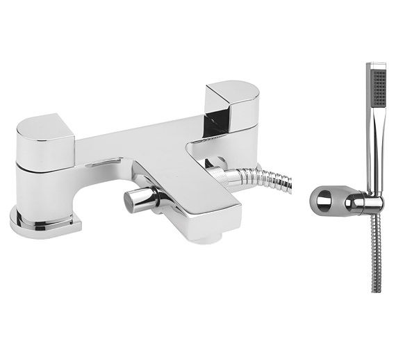 Beo Dual Lever Deck Mounted Bath Shower Mixer Tap With Kit