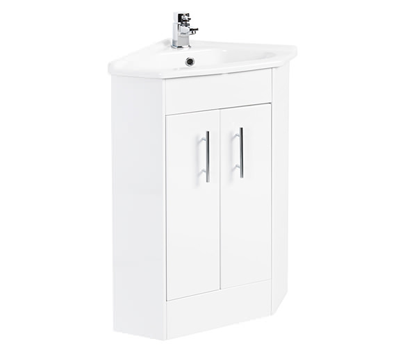 beo 555 x 800mm corner vanity unit and basin high gloss 21516
