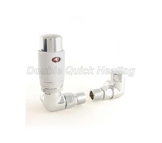 DQ Heating Essential Corner Thermostatic Radiator Valves White