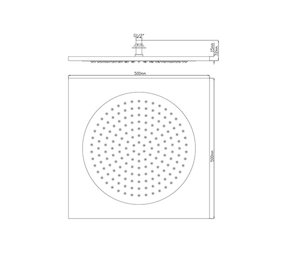 Alternate image of Hudson Reed Chrome Square Ceiling Tile Fixed Shower Head