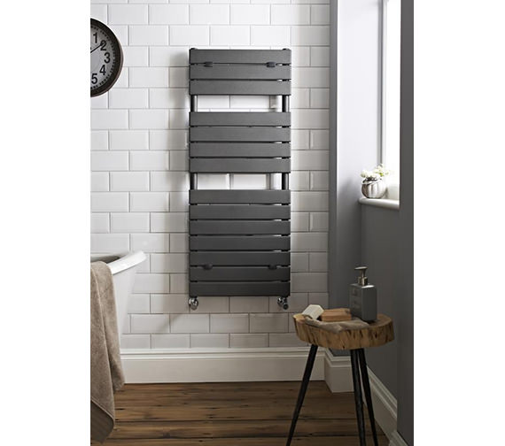 bathrooms with pedestal sinks hudson reed flat panel anthracite towel rail 500x1213mm 17247