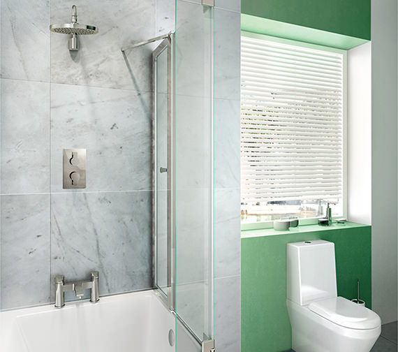 Britton Cleargreen 820 x 1450mm EcoSquare Bathscreen Right Hand
