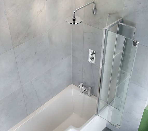 Additional image of Britton Cleargreen 820 x 1450mm EcoSquare Bathscreen Right Hand