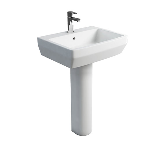 Britton Cube S20 White Washbasin 600mm With Tall Pedestal