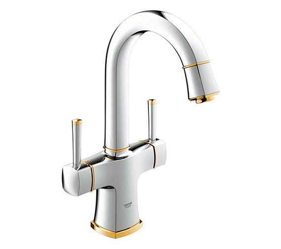 Grohe Spa Grandera 2 Handle Basin Mixer Tap With Swivel Spout Gold