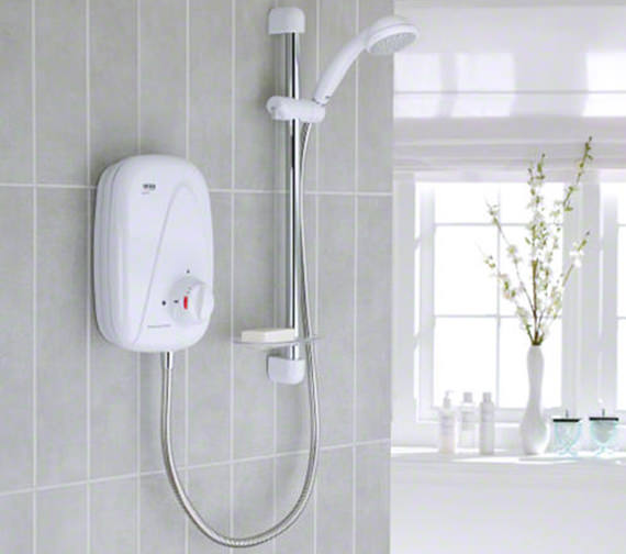 Mira Vigour Thermostatic Power Shower White And Chrome 1.1532.353