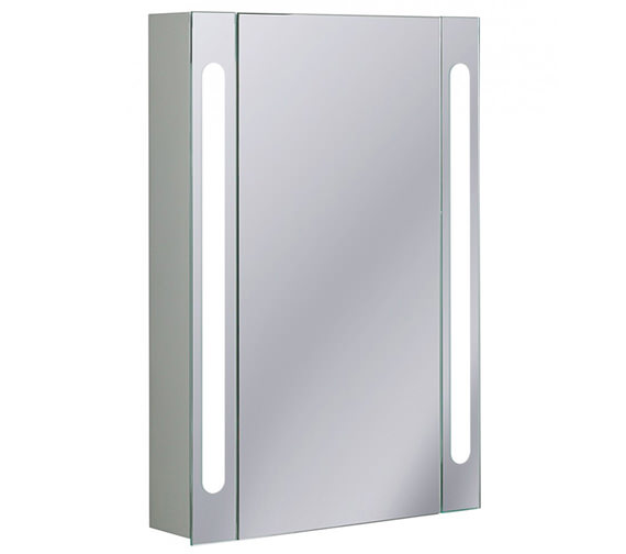 Bauhaus Aluminium 550 x 800mm Single Door Mirrored Cabinet