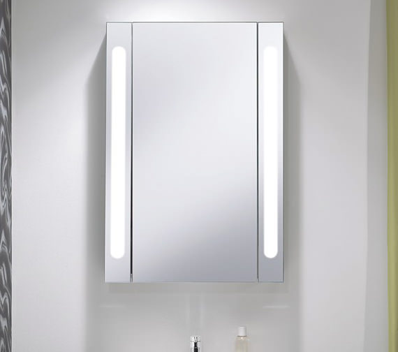 Alternate image of Bauhaus Aluminium 550 x 800mm Single Door Mirrored Cabinet