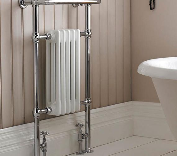Lauren Harrow Small Heated Towel Rail White Chrome 540 X 965mm Htd06