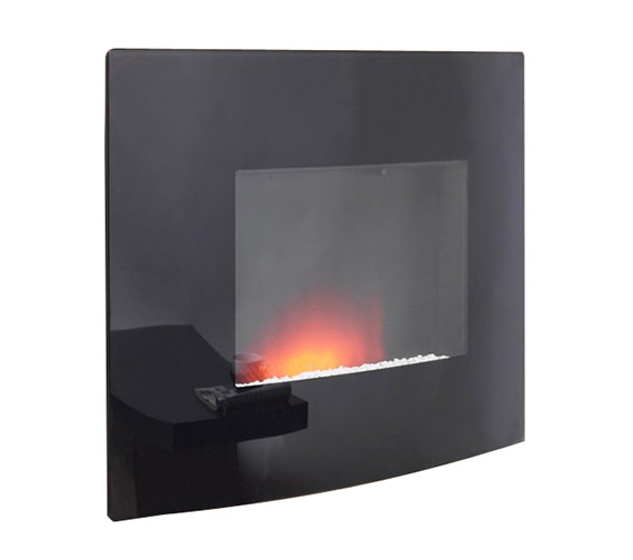 Be Modern Dante Curved Wall Mounted Remote Control Electric Fire Black - 23809