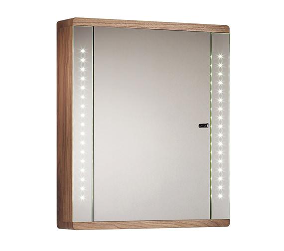 Sensory Instinct Single Mirror Glass Door LED Cabinet Walnut - SN590AW