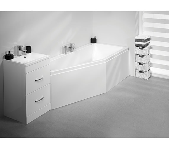 Additional image of Carron Quantum Space Saver 5mm Acrylic Bath 1700 x 750mm Left Hand