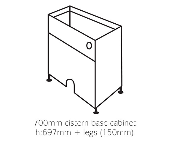 Image 2 of Balterley White Classic 700mm Cistern Base Cabinet With Legs