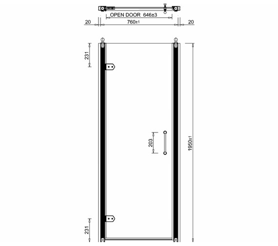 Additional image of Burlington Hinged Shower Door - BU1