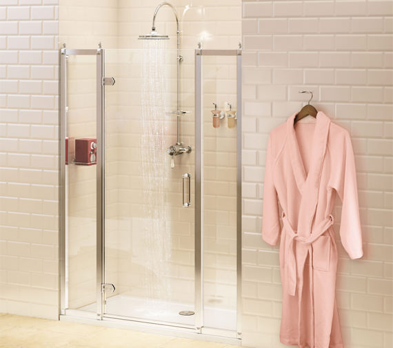 Burlington 900mm Hinged Shower Door And 2 x 400mm In-Line Panel - BU10