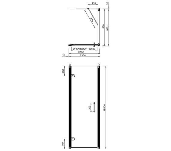 Additional image of Burlington 760mm Hinged Door And 760mm Side Panel - BU11