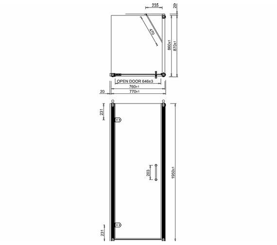 Alternate image of Burlington 760mm Hinged Door And 760mm Side Panel - BU11