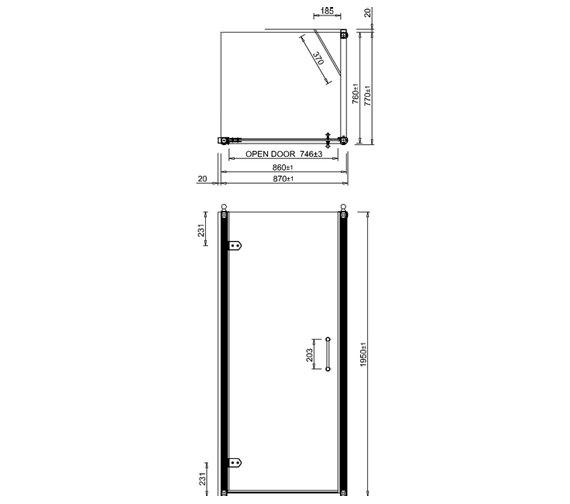 Additional image of Burlington 900mm Hinged Door And 760mm Side Panel