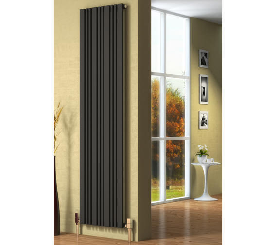 Alternate image of Reina Bonera Black Designer Radiator 456 x 1800mm - RND-BNR4518B