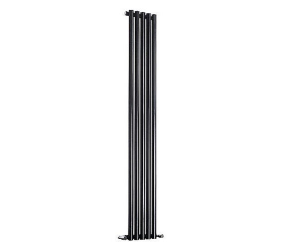 Reina Round 413 x 1800mm Black Single Panel Designer Radiator - More Width Sizes Available