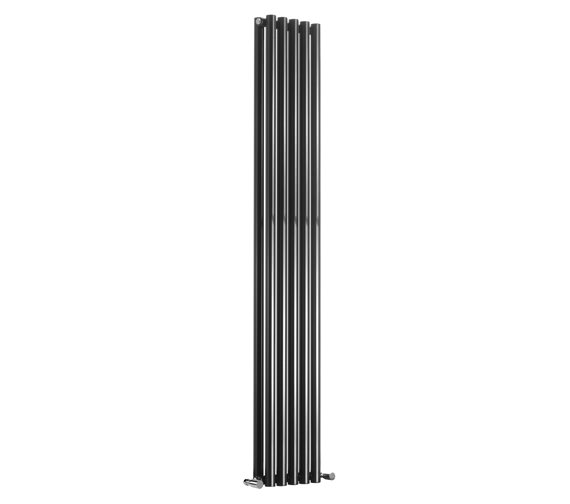 Reina Round 1800mm Height Black Double Panel Designer Radiator