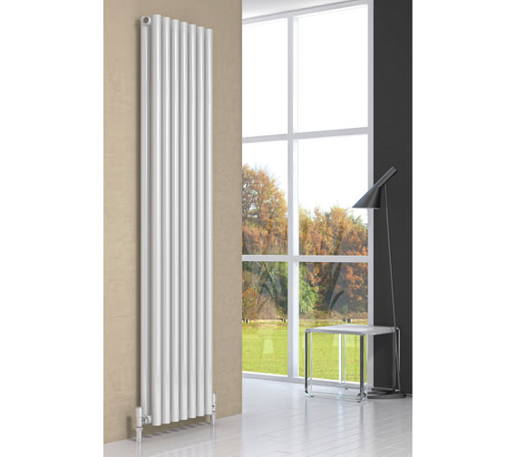 Reina Round 1800mm High White Double Panel Designer Radiator