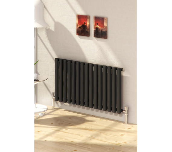 Alternate image of Reina Sena Designer Radiator 990 X 550mm Black Finish - RND-SN15B