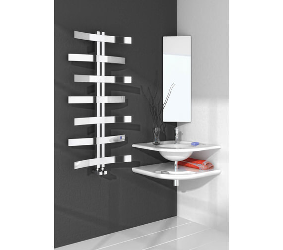 Alternate image of Reina Lioni Stainless Steel Designer Radiator 600 x 1200mm-RNS-LIO612