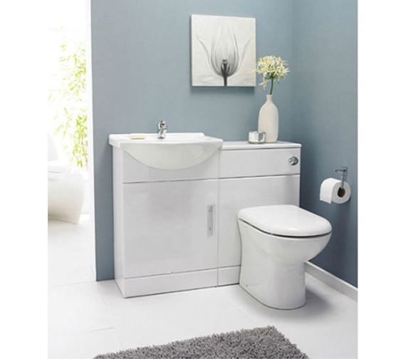 lauren 1 door bathroom vanity unit with back to wall wc unit - Bathroom Vanity Units