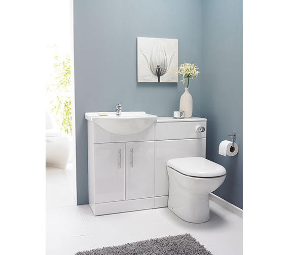 Nuie Premier Mayford 2 Door 650mm Bathroom Vanity Unit With Back To Wall WC Unit