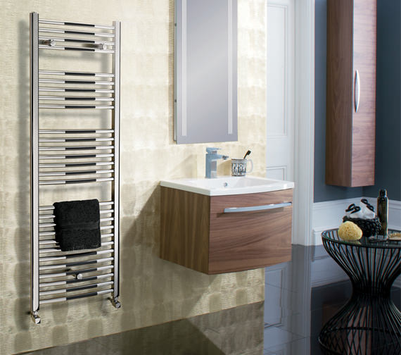 Alternate image of Bauhaus Stream 500 x 1430mm Curved Towel Warmer Chrome - ST50X143C