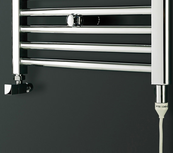 Image 3 of Bauhaus Stream 600 x 1700mm Curved Towel Warmer Chrome - ST60X170C