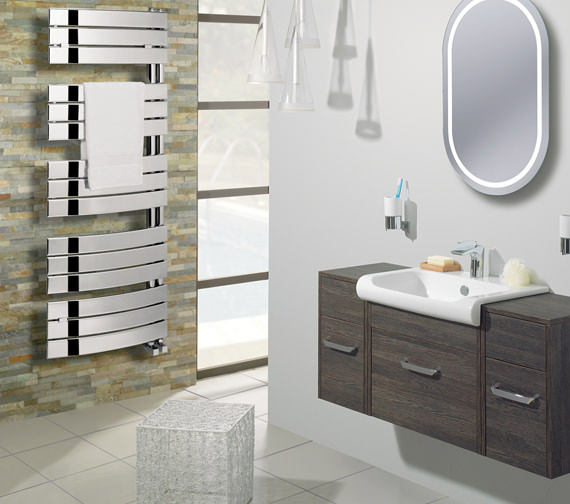 Alternate image of Bauhaus Essence 550 x 1380mm Curved Flat Panel Towel Rail Chrome